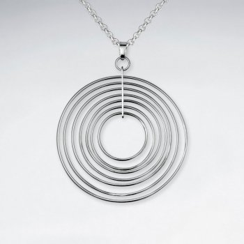 Multi Circle Sterling Silver Round Fashion Pendant