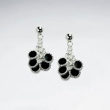 Multi Color Enamel Sterling Silver Cascade Dangle Earrings