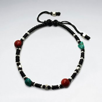 Multi-Colored Bead Studded Black Waxed Cotton Bracelet