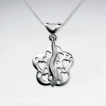 Multi Heart Open Design Floral Inspired Silver Pendant