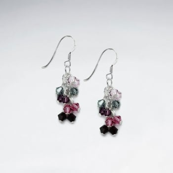 Multi-Hued Crystal Charms Cascade Dangle Earrings