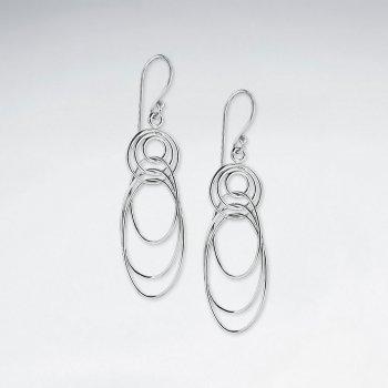 Multi Overlapping Silver Loop Earrings