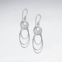 Multi Overlapping Silver Loop Earrings