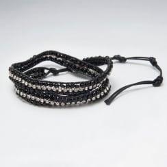 Multi-Strand Looped Nylon Crystal Black & Silver Beaded Bracelet