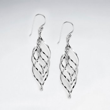 Multi Twisted Teardrop Silver Dangle Drop Earrings