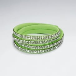 Multi Wrap Green Leather Silver Adorned Bracelet