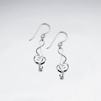Musical Note Openwork Sterling Silver Dangle Earrings