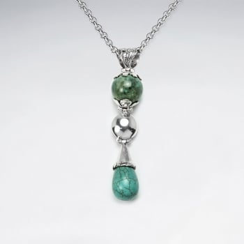 Mystical Elegance Sterling Turquoise Cascade Charm Pendant
