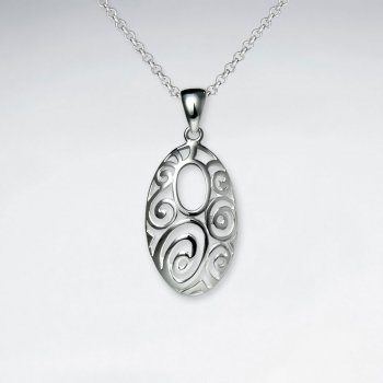 Narrow Filigree Open Oval Polished Silver Pendant