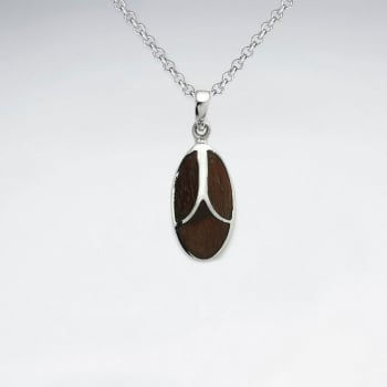 Natural Wood Silver Pendant