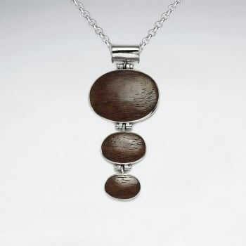 Natural Wood Silver Pendat