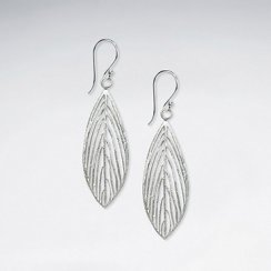 Nature Inspired Sterling Silver Perforated Filigree Feather Earrings