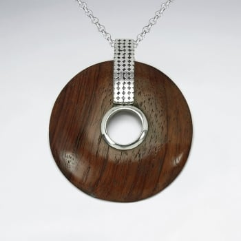 Nature's Art Sterling Silver Circle Wood Pendant