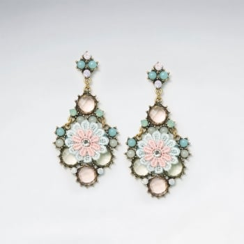 Nature's Brilliant Beauty Ornate Brass Mixed Color Crystal Flower Earring