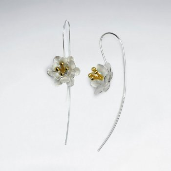 Nature's Timeless Beauty Duel Tones Flower Threader Earrings