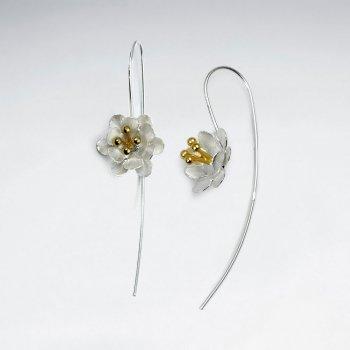 Nature's Timeless Beauty Duel Tones Flower Threader Earrings