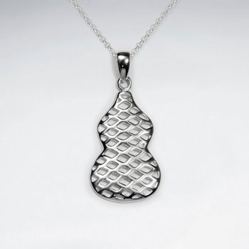Netted Organic Guitar Silhouette Inspired Sterling Silver Pendant