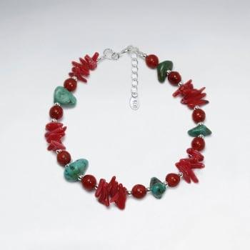 Nugget Coral & Sterling Silver Bracelet