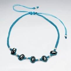 Nylon Hematite Strung Beaded Bracelet