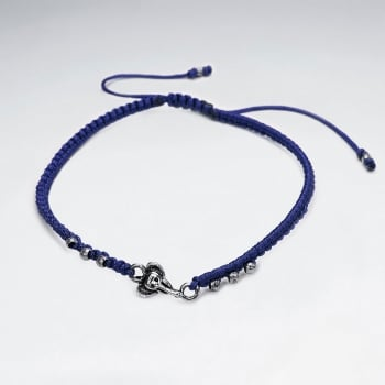 Nylon & Silver Bead Bracelet