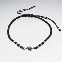 Nylon & Silver Bead Branch Charm Bracelet