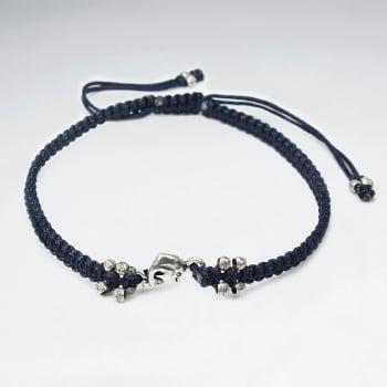 Nylon & Silver Bead Charm Bracelet