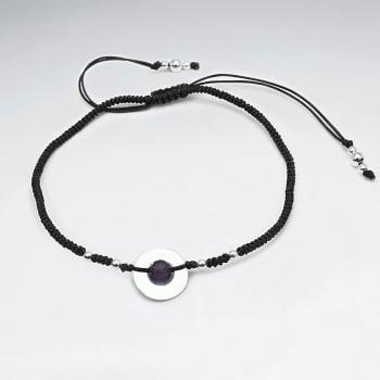 Nylon & Silver Circle Bead Charm Bracelet