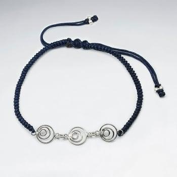 Nylon & Silver Open Gradual Circles Charm Bracelet