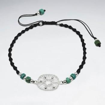 Nylon Turquoise Stone & Silver Bead Bracelet