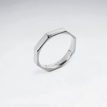 Octagonal Sterling Silver Band Ring