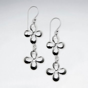 Open Blossom Dangle Drop Hook Earrings
