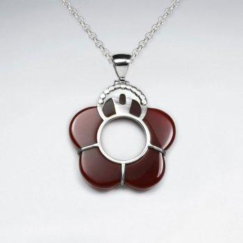 Open Carnelian Flower Silver Pendant