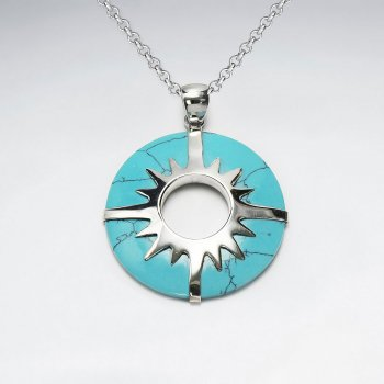 Open Circle  Blue Turquoise Silver Pendant