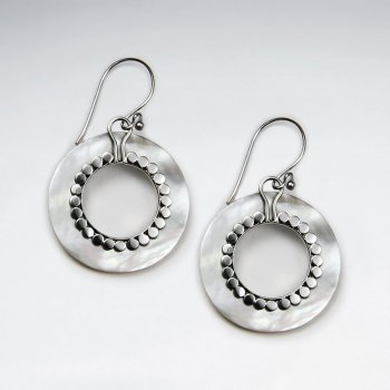 Open Circle Dangling Silver Earring With Dot Edge