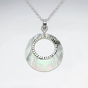 Open Circle Mother Of Pearl Pendant