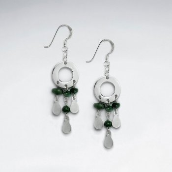 Open Circle Silver and Turquoise Gemstone Chandelier Earrings