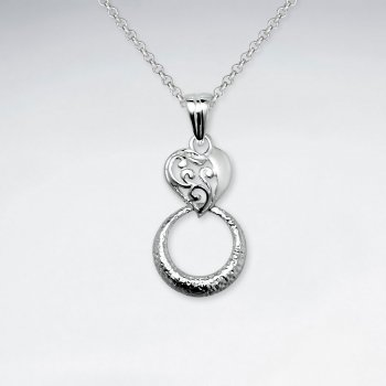 Open Circle Silver Drop Pendant