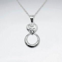 Open Circle Silver Drop Pendant