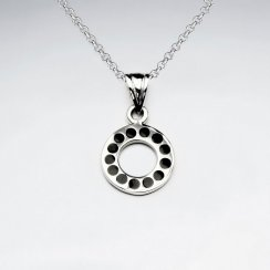 Open Circle Silver Pendant With Black Stone Dot