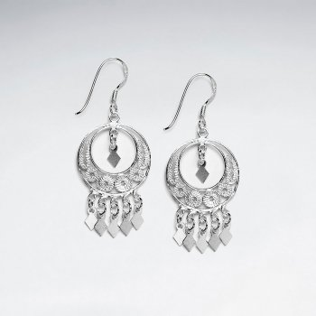 Open Circle Smooth and Textured Sterling Silver Dangle Drop Earrings