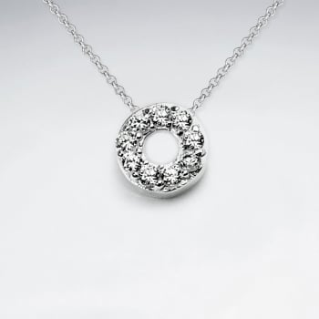Open Circle Sterling Silver Cubic Zirconia Pendant