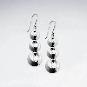 Open Circle Triple Tiered Drop Dangle Earrings in Silver