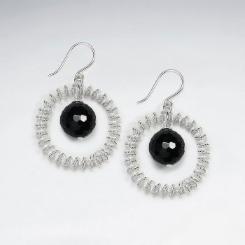 Open Circle Wirework Dangling Earring With Black Stone