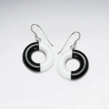 Open Circles Howlite & Black Stone Earrings