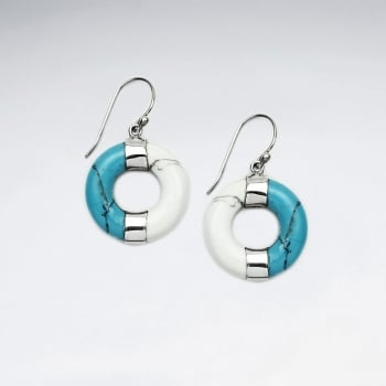 Open Circles Sterling Silver & Howlite Earrings