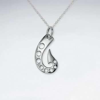 Open Design Pointed Tail Organic Shape Silver Pendant