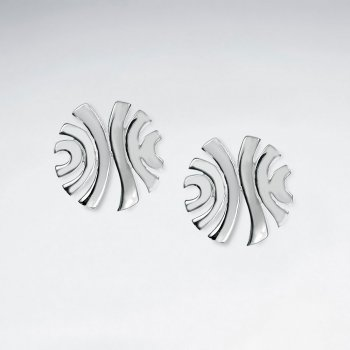 Open Design Silver Swooping Lines Round Stud Earrings