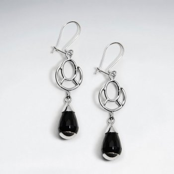 Open Design Sterling Silver Black Gemstone Dangle Earrings