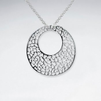 Open Disc Circle Filigree Silver Pendant