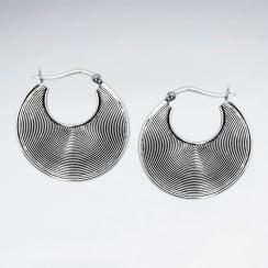Open Disc Oxidized Handmade Silver Earrings
